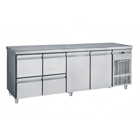 Refrigerated Counter With 4 Drawers And 2 GN Doors